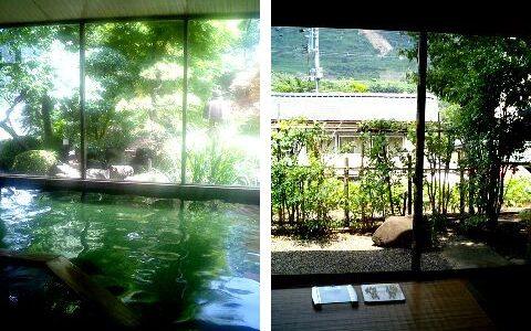 咲花温泉一水荘 空気に触れるとエメラルドグリーンに変わる温泉が魅力!