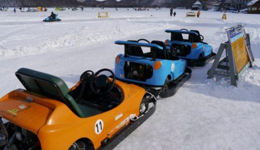 凍結した榛名湖で氷上ゴーカートを楽しむ